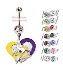 NFL MINNESOTA VIKINGS AUTHENTIC LOGO HEART CHARM DANGLE BELLY RING! NRHNFL-103