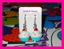 3D Blue Vanilla Candy Sprinkle Cup Cake Cherry Silver Plated Earrings*USA MADE