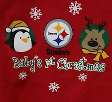 Baby's 1st Steelers Christmas NFL First 2-Pc Bodysuit, Football Beanie NWT