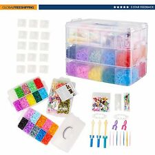 Colorful Rainbow Rubber Loom Bands Bracelet Making Kit Craft as Gift 15000PC