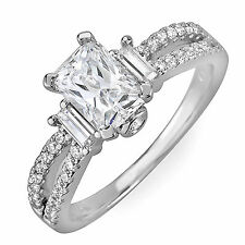 Radiant and Round Shape Diamond Engagement Ring Antique Style GIA 2.18 Carat