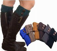 Women Winter Leg Warmers Socks Button Crochet Knit Boot Socks Toppers Cuffs Nice