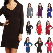 Wool Long Sleeved Top V Neck Sweater Dresses Warm Ladies Cashmere Dress Size 8-0