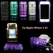 Luxury Shockproof Crystal Clear Ice Cube Hard TPU Case W/ Chain For iPhone 5 5S