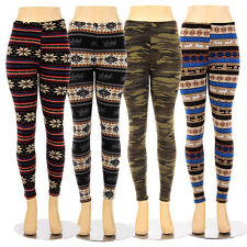 Fur Lined Leggings Winter Tribal Print Thick Fleece Stretch Pants One Size S M L