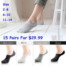 All Sizes Men Women No Show Invisible Low Cut Boats Socks Cotton Rich SOL03/04