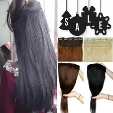 ONE PIECE CLIP IN HUMAN HAIR EXTENSIONS REMY REAL 3/4 FULL HEAD WOMEN LOVE vv