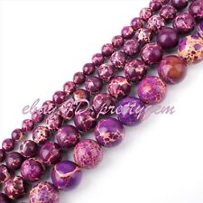 6-12mm Smooth Round Purple Imperial Jasper Gemstone DIY Spacer Beads Strand 15""