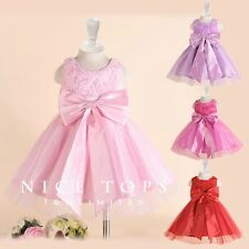 P196 Pink Christening Princess Wedding Party Flower Girls Dress SIZE 2 to 12Year