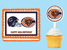 Chicago Bears Edible Birthday Cake Cupcake Toppers Party Decorations Images