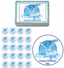 Dolphins Edible Birthday Cake Cupcake Toppers Party Decorations Images