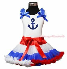 Blue Sailor Anchor Print White Top Red White Blue Girl Pettiskirt Set 1-8Year