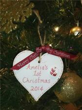 PERSONALISED BABY'S FIRST / 1st CHRISTMAS TREE DECORATION HEART STAR PLAQUE