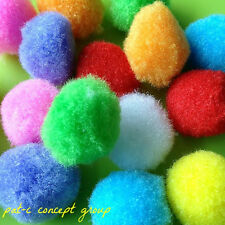 LOT 16 ASSORTED COLOR SCRAPBOOKING SOFT YARN PLUSH CRAFT POM POMS PUFF BALL 20MM