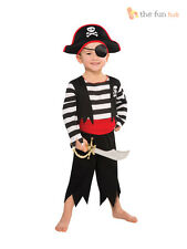 Boys Pirate Costume + Hat Child Kids Fancy Dress Book Week Halloween Age 3 4 5 6