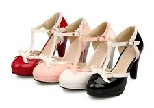 Women T Strap Lolita Bowtie High Heel Oxford Pumps Leather Retro Shoes Plus SIZE