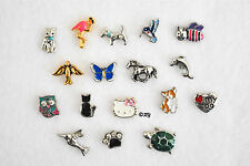 Animal Charms for Floating Living Memory Locket owl dog turtle cat bird dolphin