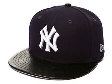 New Era NEW YORK YANKEES FITTED ETCHER 5950 MLB Cap Faux Leather Hat Navy