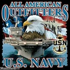 U.S. All American Outfitters Navy Ship & Eagle Logo Graphic Black T Shirt