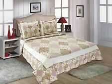 65-All For You 3PC quilt set, bedspread,coverlet-reversible pink patchwork print