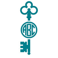 Skeleton Key Monogram Decal Sticker - TONS OF OPTIONS