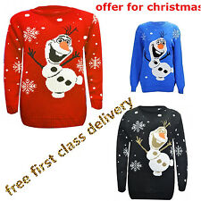 New Kids Childrens XMAS Unisex Novelty Olaf Frozen Christmas Jumpers 5-12 Years
