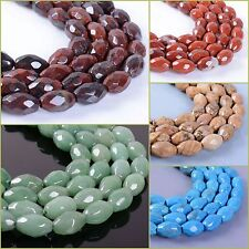 """11mm Faceted gemstone oval rice loose beads 15"""""""