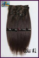 16'' 18'' 20'' 22'' 70g 7pcs Clip In Real REMY Human Hair Extensions,Dark Brown