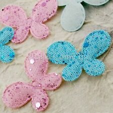 100 Fabric Glittered Butterfly Baby Shower/Scrapbooking Pink/Blue