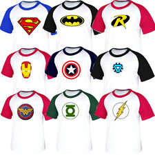 Superhero FILM Marvel DC COMICS Batman Superman Flash GL Baseball tshirt JerseyB