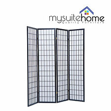 Brand New Timber Wooden Clear Varnish Black 4 Panel Fold Screen Room Divider