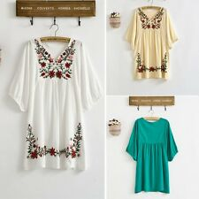 Lady Vintage 70s Mexican Ethnic Floral Embroidered Hippie Blouse Tops Boho Dress