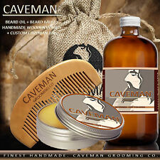 Hand Crafted Caveman® Beard Oil Conditioner + Beard Balm 16 Scents to Choose
