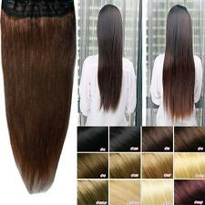 "ONE PIECE CLIP IN HUMAN HAIR EXTENSIONS REMY REAL 3/4 FULL HEAD 16-22"" LONG vv"