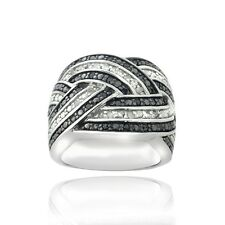 925 Silver 1/2ct Black & White Diamond Crossover Band Ring