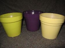 """NEW 5""""Diam x 4 ½""""Tall EGGPLANT LIME YELLOW Pottery KITCHEN PLANT POT CONTAINER"""