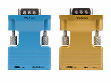 HD HDMI Female To VGA Male Audio Output Adapter Converter For  PC Projector