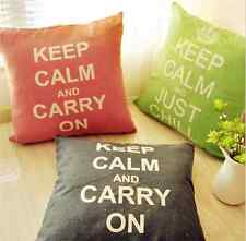 Zakka KEEP CALM CARRY ON/JUST Chill Cotton&Linen Cushion Cover Throw Pillow Case