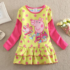 Peppa pig girls spots flower 100% cotton long sleeve dress(18-24M, 4-5Y left)