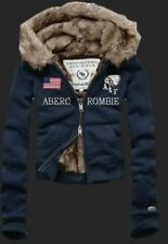 Winter Abercrombie and Fitch United States Flag Navy Women Hoodies S/M/L
