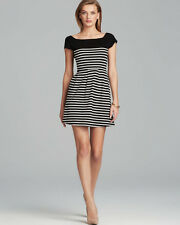 FRENCH CONNECTION Black Yellow Stripe County Cotton Dress Size4 6 8 10 12 RRP£63
