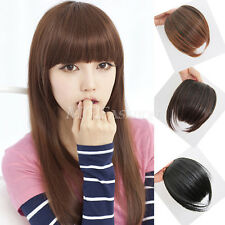 Womens Clip On Clip In Front Straight Hair Bang Fringe Hair Extension