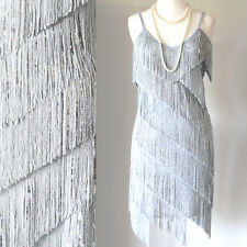 FLAPPER FRINGE 1920s SILVER GREAT GATSBY CHARLESTON SEQUIN PARTY LATIN DRESS S L