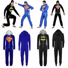 Mens Women Batman Superman Hooded Zip Jumpsuit Onesie Playsuit Cosplay All In On