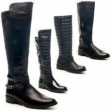 Womens Ladies Low Heel Flat Winter Biker Riding Zip Calf Knee Boots Shoes UK 3-8