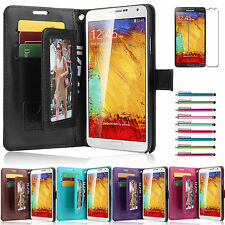 Genuine Real Leather Flip Wallet Case Cover Stand For Samsung Galaxy Note 3 III