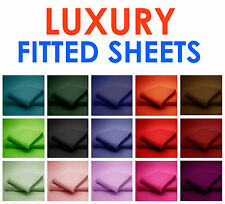 LUXURY PERCALE POLY-COTTON FITTED SHEET SINGLE DOUBLE KING SUPER KING PILLOWCASE