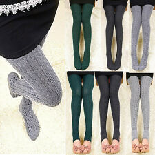 Winter Woman Wool Braid Over Knee Socks Thigh Highs Hose Stockings Twisted Warm