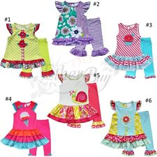 Kids Girls Holiday Sleeveless Floral Flower Top Dress + Leggings Outfit Clothes