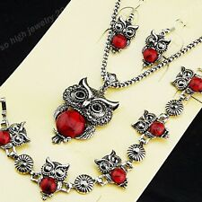 Top Red Turquoise CZ Owl Necklace Bracelet Earrings Vintage Silver Jewelry Sets